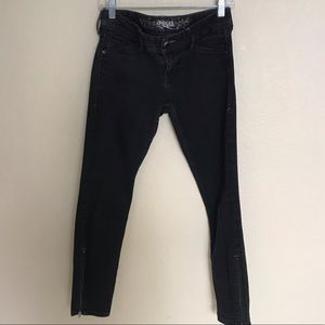 Express black skinny jeans with zipper details